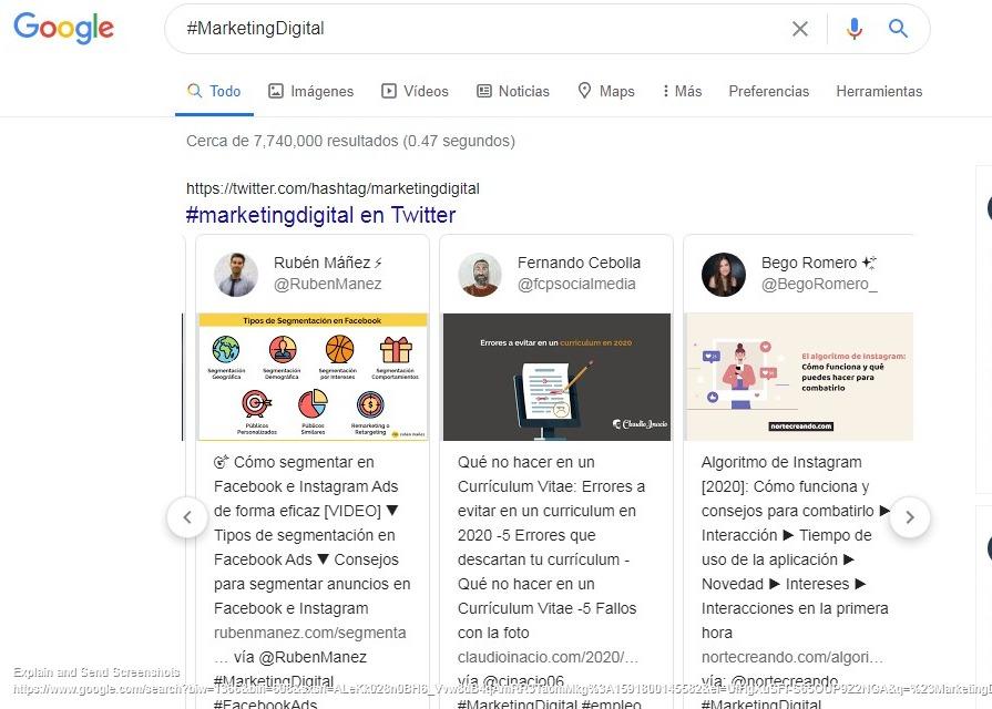 captura de pantalla de tuits en vivo en google